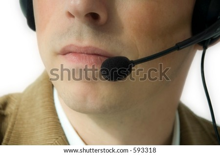 Man with headset - stock photo