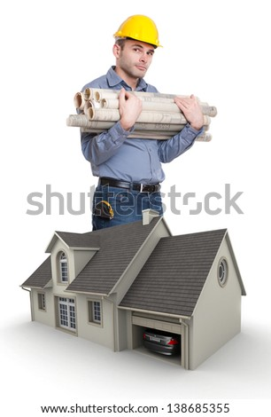 Man with helmet, carrying blueprints by a house model - stock photo