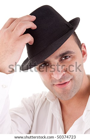 man with his black hat, isolated on white background - stock photo