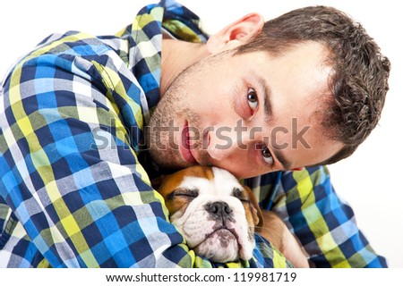 Man with his dog - stock photo