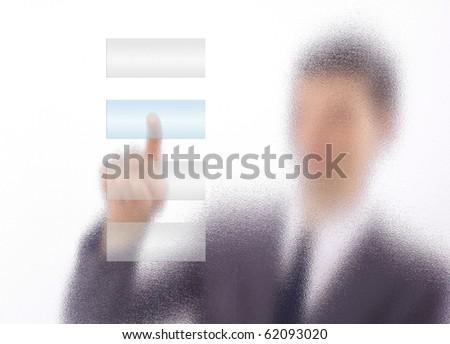 man with interface in futuristic interior - stock photo