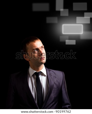 man with interface in futuristic interior