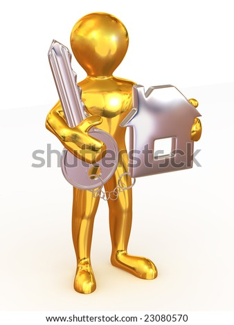 Man with key and trinkets. 3d