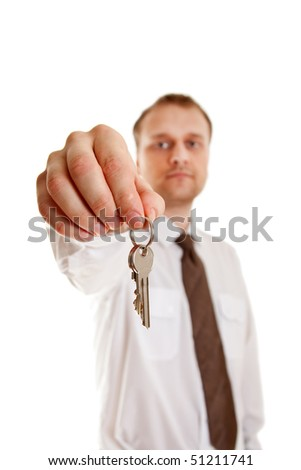 man with keys in hand