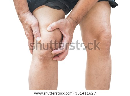 Man with knee pain isolated on white background - stock photo