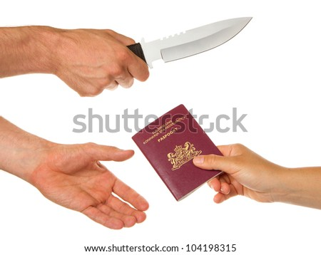 Man with knife threatening a woman to give her dutch passport - stock photo