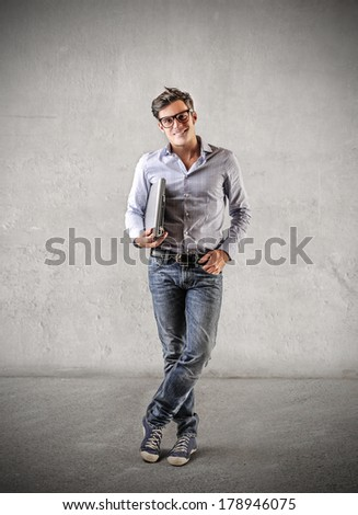 man with laptop - stock photo