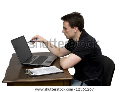 man with laptop in office studio isolated