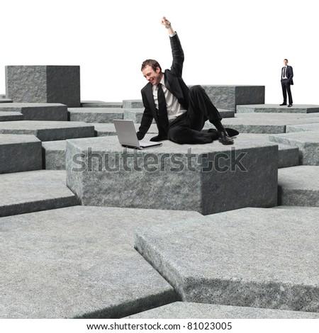 man with laptop on 3d virtual place - stock photo