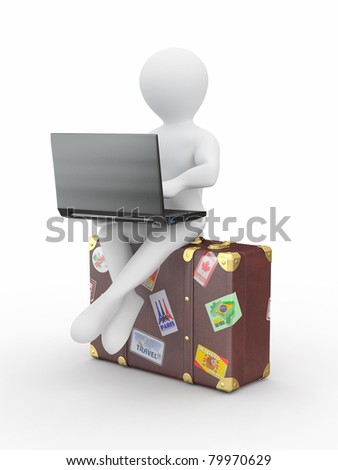 Man with laptop on the luggage. 3d - stock photo
