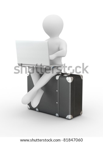 Man with laptop on the luggage. 3d