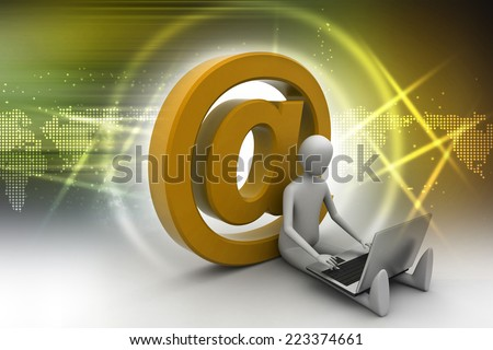 man with laptop sitting on the email icon - stock photo