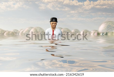 Man with large ideas surrounding him in the form of classic light bulbs In flooded Landscape - stock photo