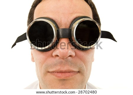 Man with large protective goggles - with copyspace on the glass - stock photo