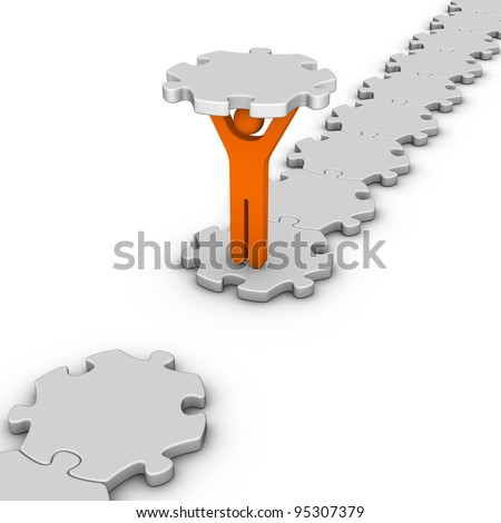 man with last jigsaw piece for puzzle bridge