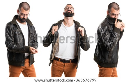 Man with leather jacket - stock photo