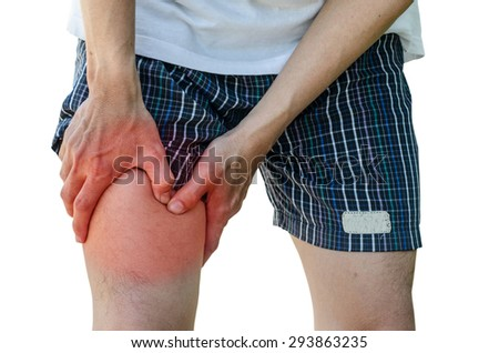 man with leg calf pain isolated on pure white background