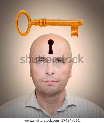Man with locked head. Secrecy concept. - stock photo