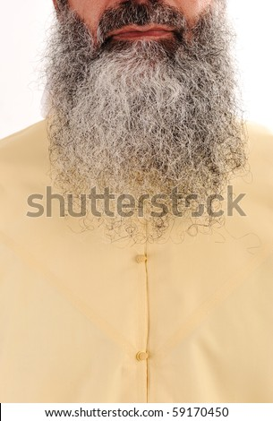 Man with long beard and facial hair - stock photo