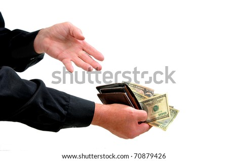 Man with long sleeved dress shirt offering money from wallet as payment. Isolated on white.