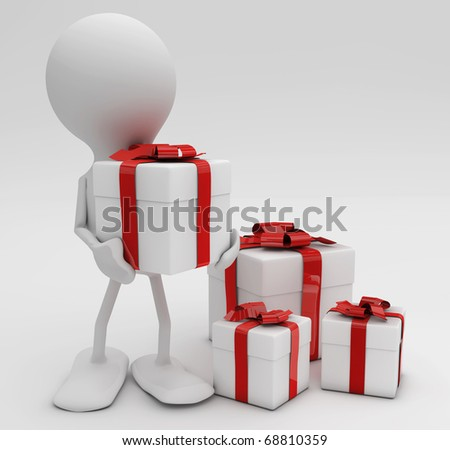 Man with lots of gifts. 3d rendered Celebrations concepts. - stock photo