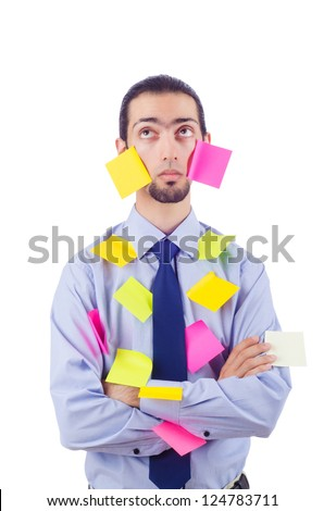 Man with lots of reminder notes - stock photo