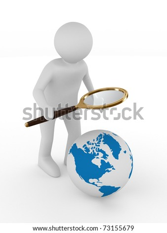 Man with magnifier on white background. Isolated 3D image - stock photo