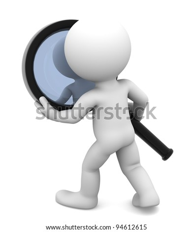 Man with magnifying glass. Isolated on white