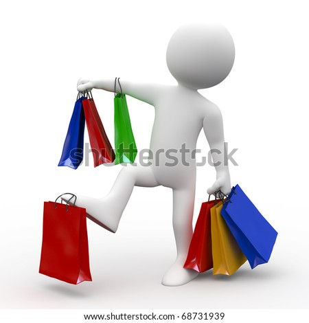 Man with many bags of various colors, shopping - stock photo