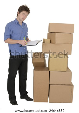 Man with marker and pile cardboard boxes on background