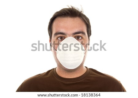 man with mask - life in today's world, pollution concept