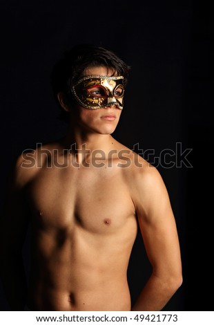 Man with mask. More of this model in my portfolio. - stock photo