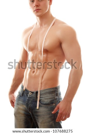 man with measuring tape - stock photo