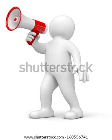 Man with megaphone - stock photo