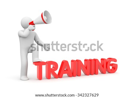 Man with megaphone and word training - stock photo