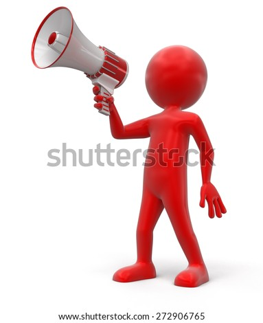 Man with Megaphone (clipping path included)