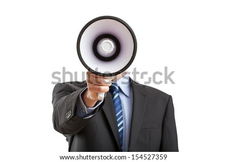Man with megaphone giving an annoucement