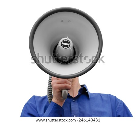 Man with megaphone in hand on the white background - stock photo