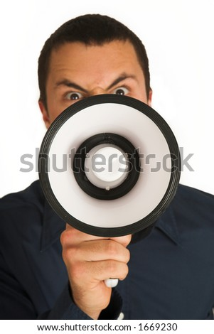 Man with Megaphone – Shallow Depth of Field