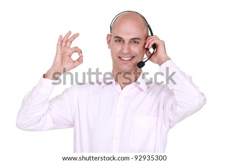 Man with microphone - stock photo