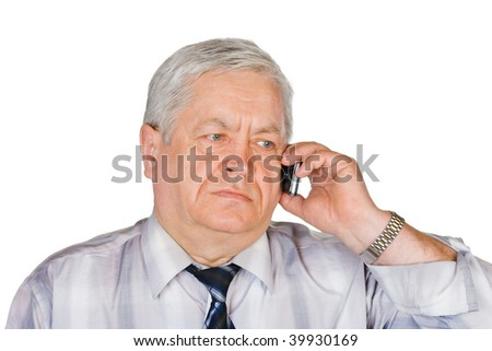 Man with mobile phone isolated on white background