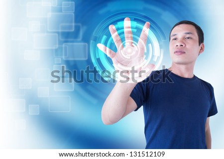 Man With Modern Technology - stock photo