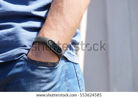 Man with modern watch