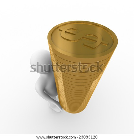 man with money for a white background. Isolated 3D image - stock photo