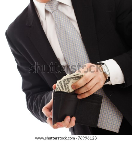 Man with money. Isolated over white. - stock photo
