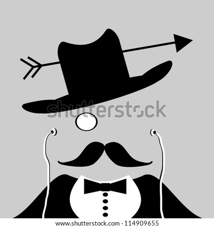 man with monocle and arrow through cowboy hat wearing earphones - stock photo