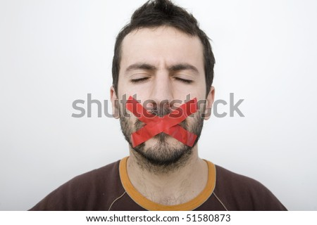 Man with mouth gagged