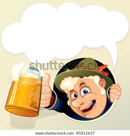 Man with Mug of Beer and empty speech bubble for your text. - stock photo