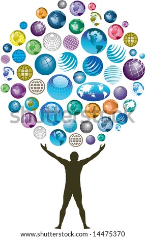 Man with multiple globes overhead - stock photo