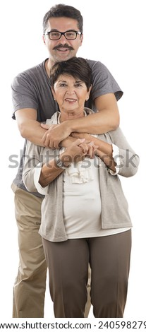 Man with Mustache Hugs Senior Adult Woman - stock photo